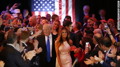 NEW YORK, NY - MAY 03:  Republican presidential candidate Donald Trump and his wife Melania Trump arrive to speak to supporters at Trump Tower in Manhattan following his victory in the Indiana primary on May 03, 2016 in New York City. Trump beat rival Ted Cruz decisively in a contest that many analysts believe was the last chance for any other Republican candidate to catch Trump in the delegate count.  (Photo by Spencer Platt/Getty Images)