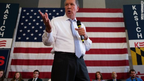 Republican presidential candidate, Ohio Gov. John Kasich, speaks during a town hall at Thomas farms Community Center on Monday, April 25, 2016, in Rockville, Md. (AP Photo/Evan Vucci)