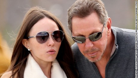 Larry Ellison pictured with Nikita Kahn at the tennis tournament he owns in Indian Wells.