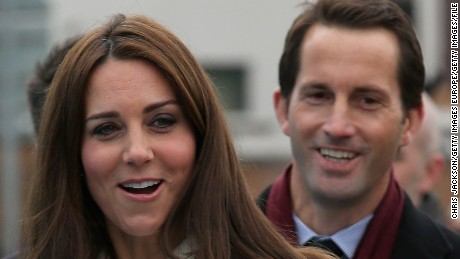 Ainslie with Catherine, Duchess of Cambridge, at the home of his racing team in Portsmouth, England.