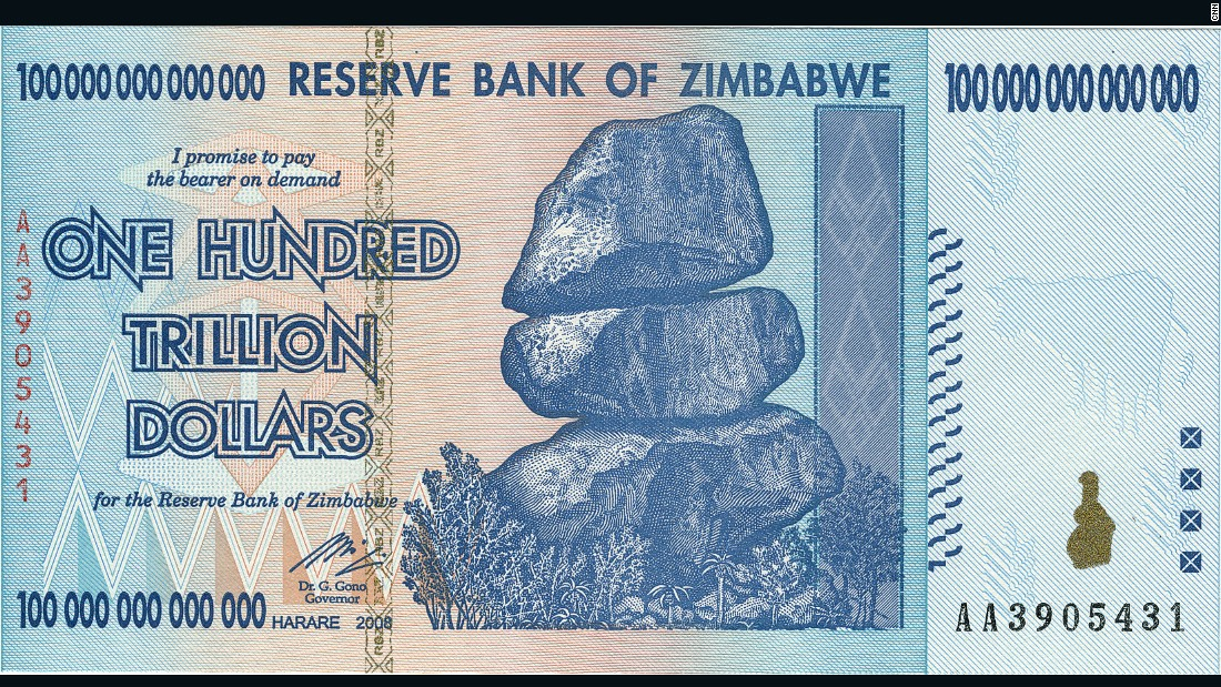 A photo of Zimbabwe's one hundred trillion dollar note, which is now out of action after massive devaluation of the Zimbabwe currency spiralled out of control in 2009.