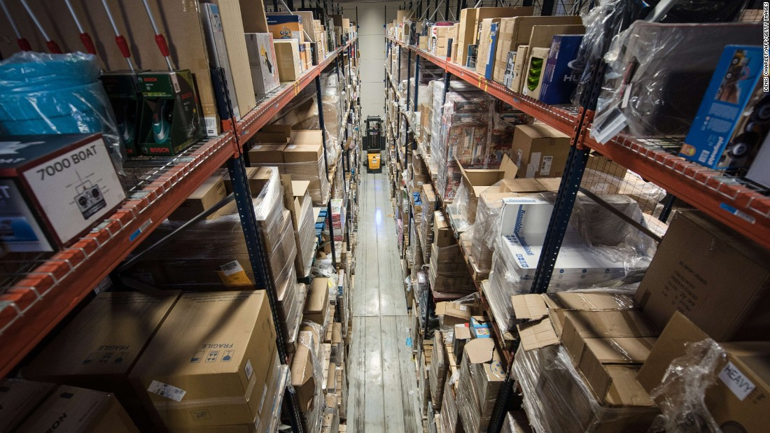 The technology has potential to improve efficiency for large delivery giants such as Amazon. The forklift pictured at this Amazon warehouse in France, for example, could become a thing of the past.