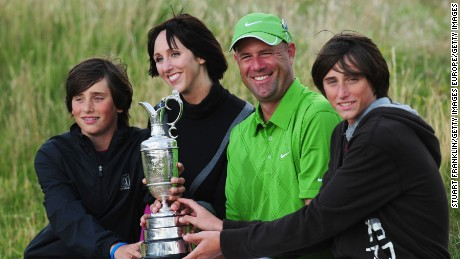 Stewart Cink poses with wife Lisa and family after winning the British Open at Turnberry in 2009.