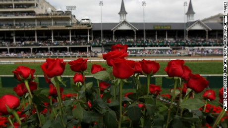 Roses are seen from the winner's circle prior to the the 138th running of the Kentucky Derby at Churchill Downs on May 5, 2012 in Louisville, Kentucky.