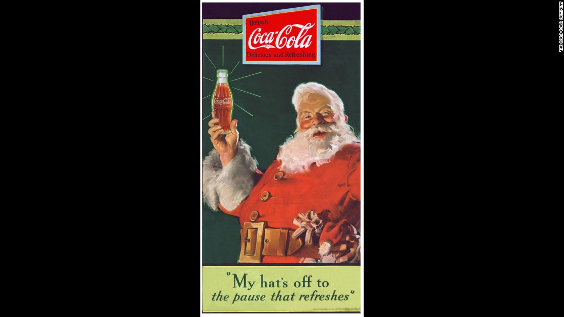 <strong>1931: </strong>Coca-Cola puts an image of Santa Claus on an ad that debuted in the Saturday Evening Post and appeared regularly in magazines. It was painted by Haddon Sundblom, who continued to paint a new Santa for Coke every year until 1964.