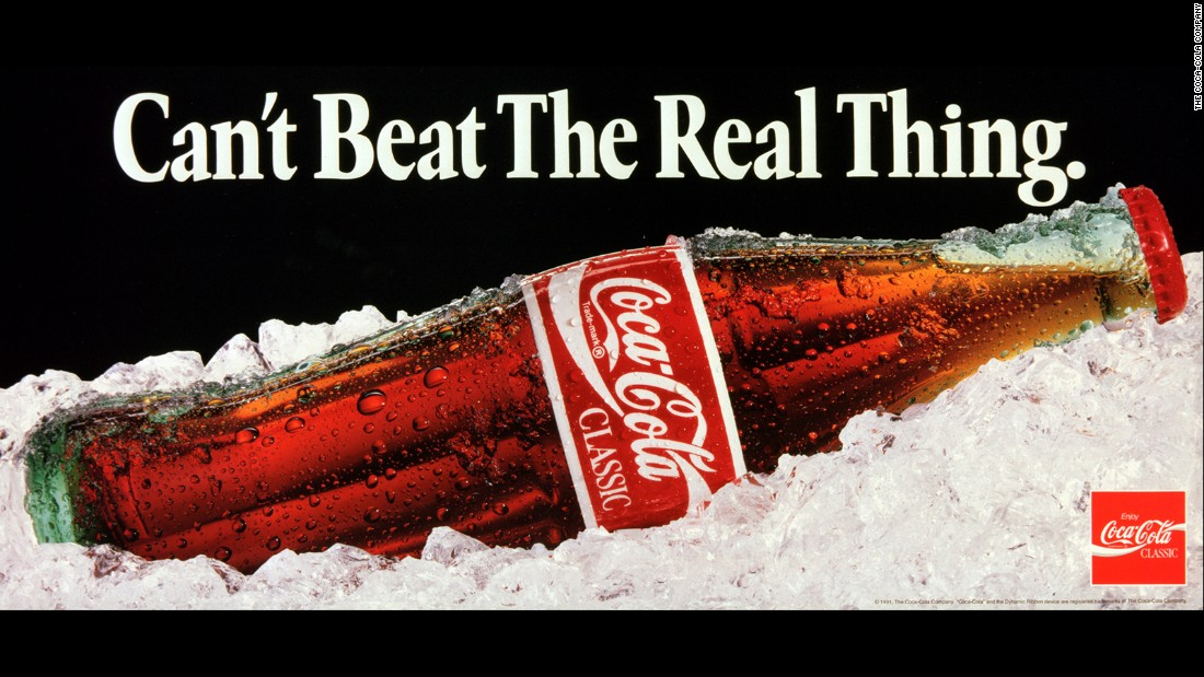 "<strong>1991: </strong>One of the most famous Coca-Cola advertising slogans, ""Can't Beat the Real Thing,"" ran in various ads until 1993."