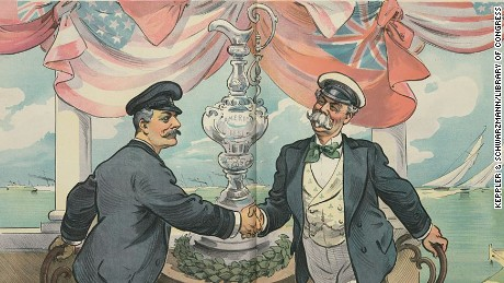 Artist's illustration shows an American yachtsman shaking hands with Thomas Lipton (right).