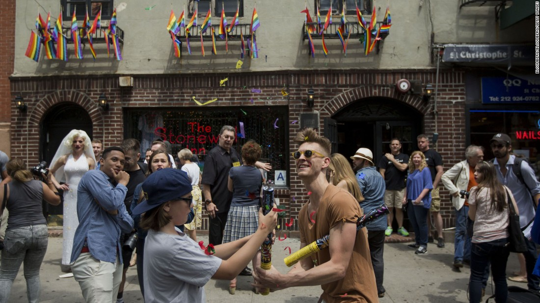 People often gather at the Stonewall Inn to celebrate LGBT rights victories, including the U.S. Supreme Court ruling allowing same-sex marriage on June 26, 2015.