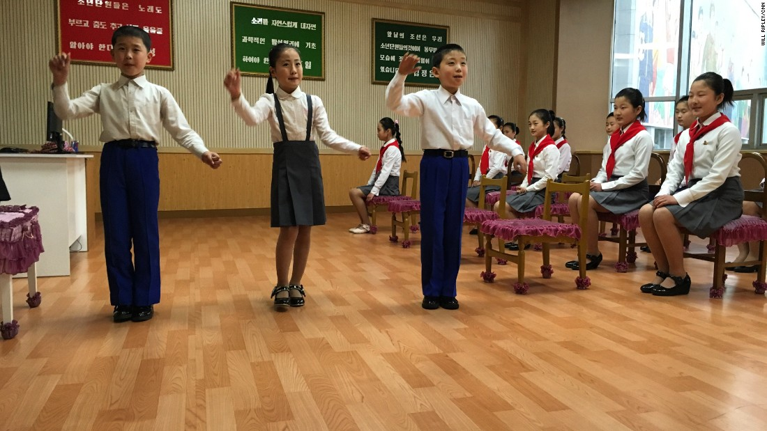 "Young singers practice their performance at a ""children's palace"" in Pyongyang."