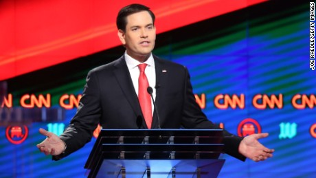 CORAL GABLES, FL - MARCH 10:  Republican presidential candidates, Sen. Marco Rubio (R-FL) speaks during  the CNN, Salem Media Group, The Washington Times Republican Presidential Primary Debate on the campus of the University of Miami on March 10, 2016 in Coral Gables, Florida. The candidates continue to campaign before the March 15th Florida primary.  (Photo by Joe Raedle/Getty Images)