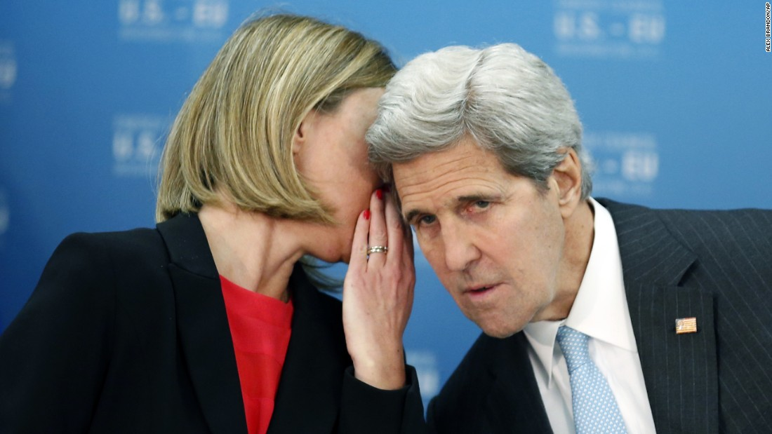 Federica Mogherini, the European Union's foreign policy chief, speaks with U.S. Secretary of State John Kerry during an energy summit in Washington on Wednesday, May 4.