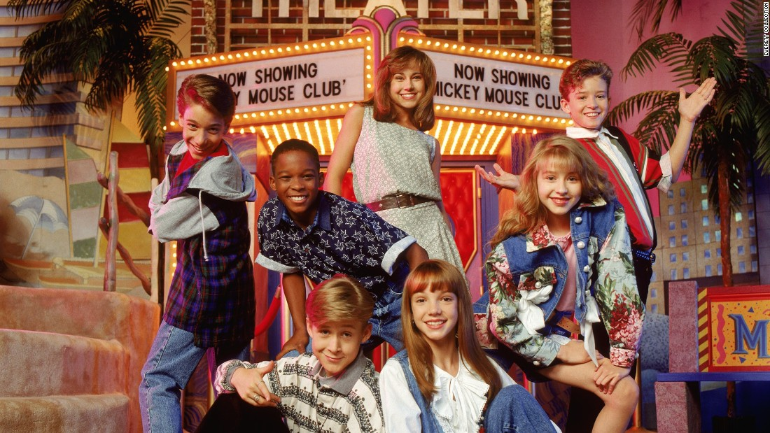 "In 1993, Timberlake was singing, dancing and acting in the Disney Channel's ""The Mickey Mouse Club"" alongside a group that would later become a who's-who of teenage idols. Here, clockwise from upper center, are Nikki DeLoach, Timberlake, Christina Aguilera, Britney Spears, Ryan Gosling, T.J. Fantini and Tate Lynche."