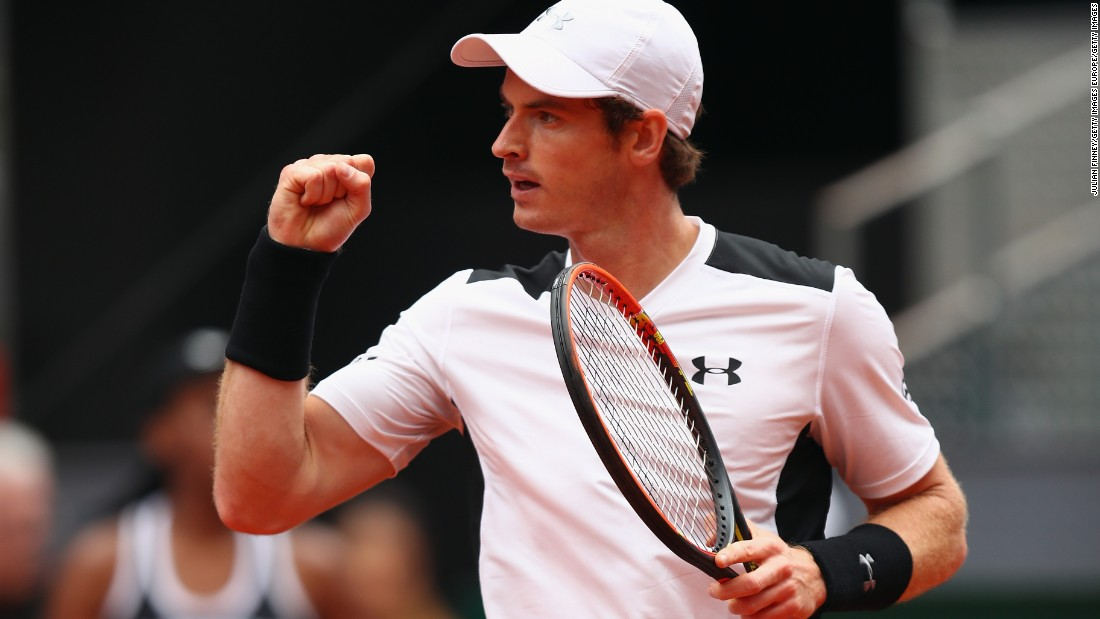 Andy Murray celebrates edging out Rafael Nadal in the semifinal of the Madrid Open.