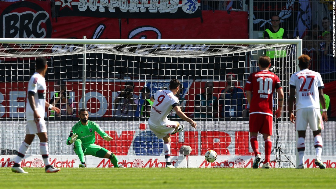 Robert Lewandowski opens the scoring for Bayern Munich against Ingolstadt.