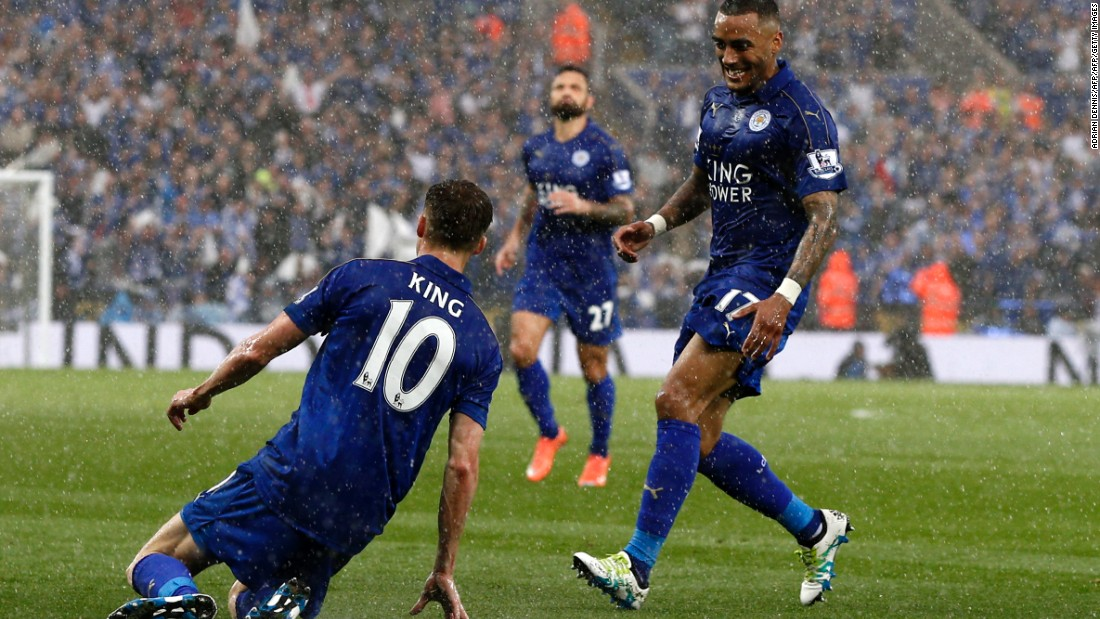 King and teammate Danny Simpson celebrate as Leicester extends its lead.