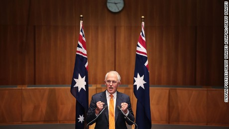 Prime Minister Malcolm Turnbull speaks to the media during a press conference at Parliament House on May 8, 2016, announcing a general election scheduled for July 2, 2016.