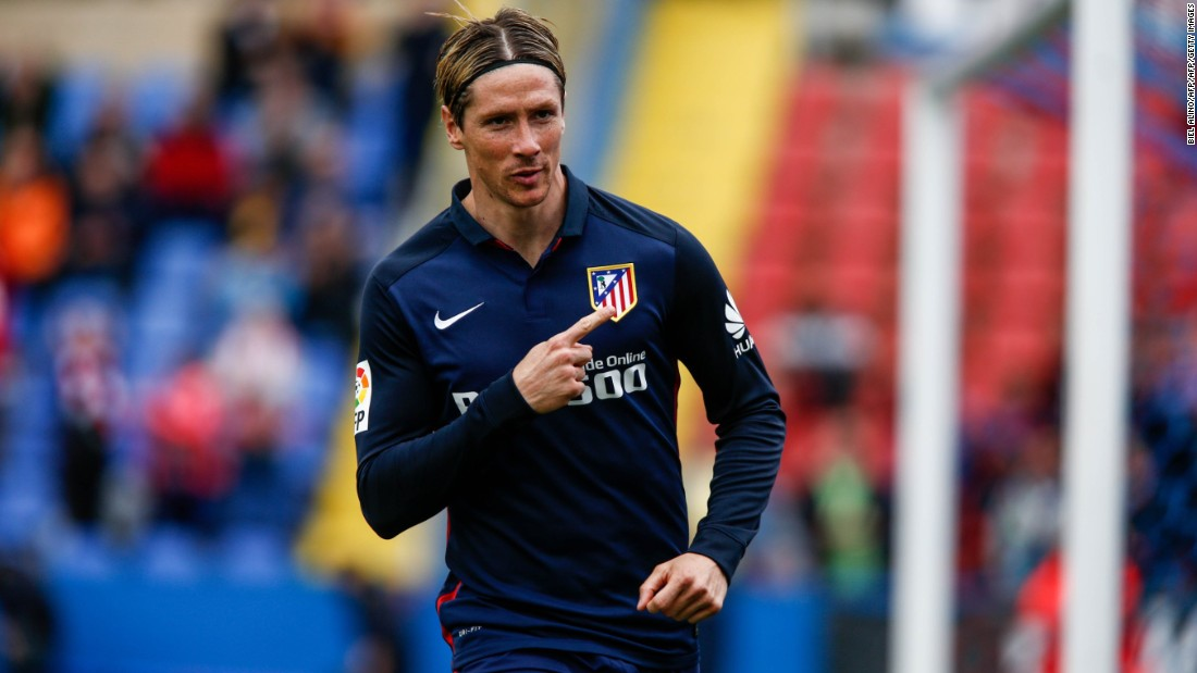 Fernando Torres celebrates scoring for Atletico Madrid against Levante Sunday.
