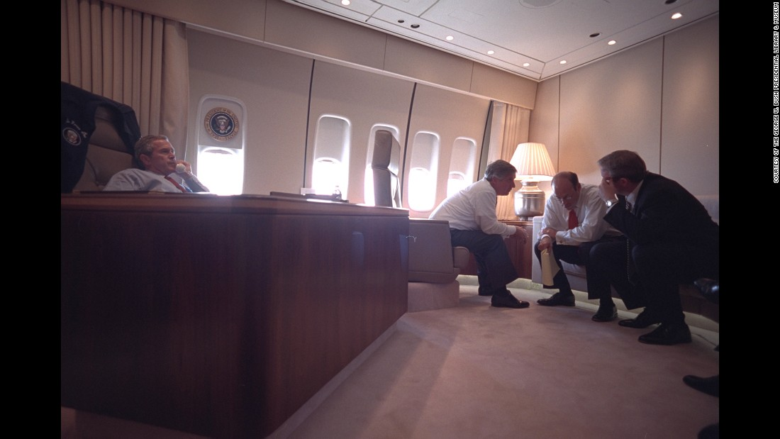 Bush is joined in his Air Force One office by Card, White House Press Secretary Ari Fleischer and White House Counsel Dan Bartlett.