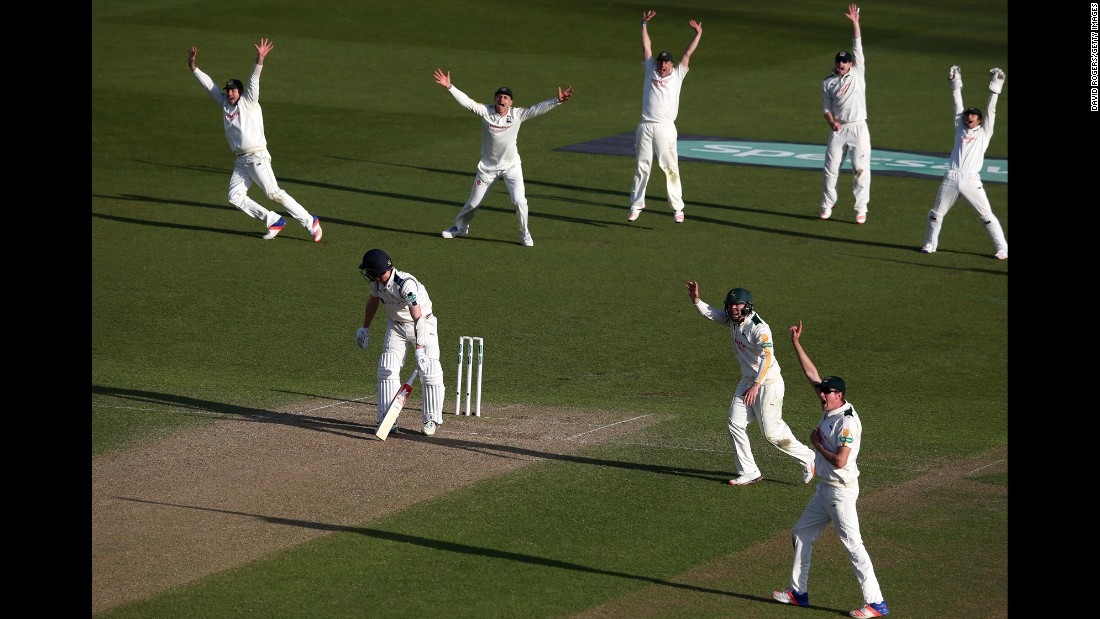 Nottinghamshire cricket players celebrate Wednesday, May 4, after Yorkshire's Steven Patterson was caught leg before wicket during a Division One match in Nottingham, England.