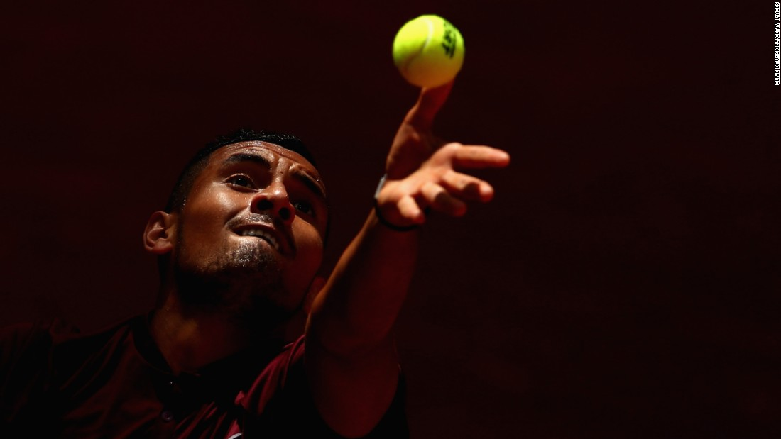 "Nick Kyrgios serves during a second-round match at the Madrid Open on Wednesday, May 4. <a href=""http://edition.cnn.com/2016/05/09/tennis/andy-murray-splits-coach-amelie-mauresmo/index.html"">READ MORE: Djokovic triumphs in Madrid final</a>"