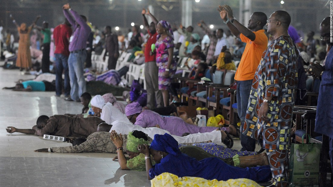 Worshippers at a Pentecostal church in Nigeria. The movement has become an increasingly popular sub-group of the Christian church in Africa.