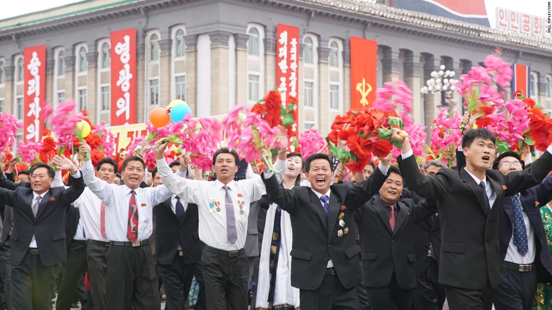 North Koreans celebrate the end of the Workers' Party Congress -- the first time such an event has been held in 36 years -- with a giant parade in the capital, Pyongyang, on May 10, 2016.