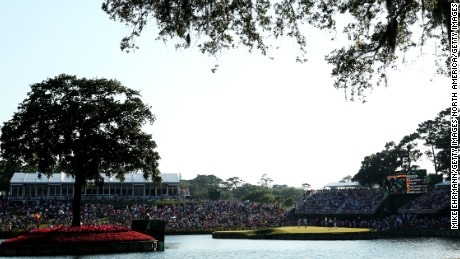 The dreaded 17th green at TPC Sawgrass.