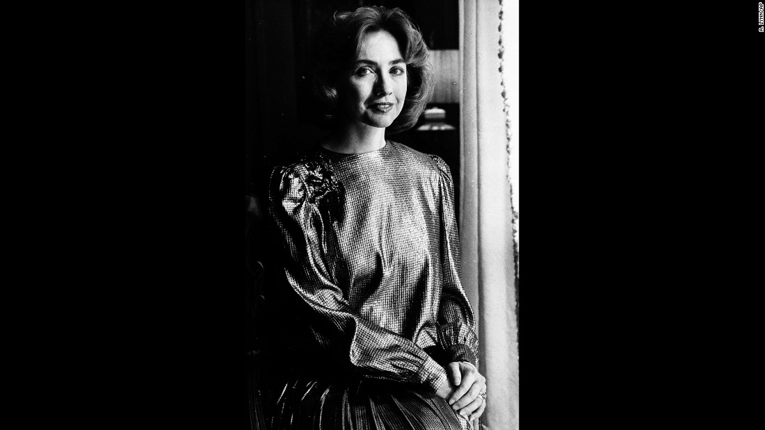 Arkansas' first lady, now using the name Hillary Rodham Clinton, wears her inaugural ball gown in 1985.
