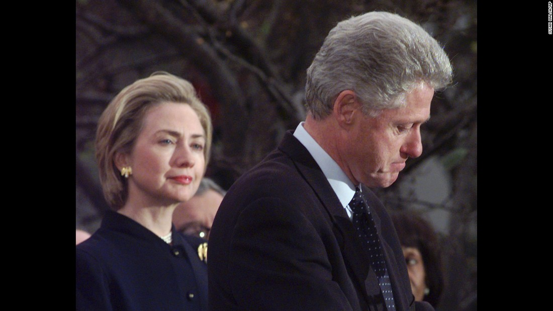 President Clinton makes a statement at the White House in December 1998, thanking members of Congress who voted against his impeachment. The Senate trial ended with an acquittal in February 1999.