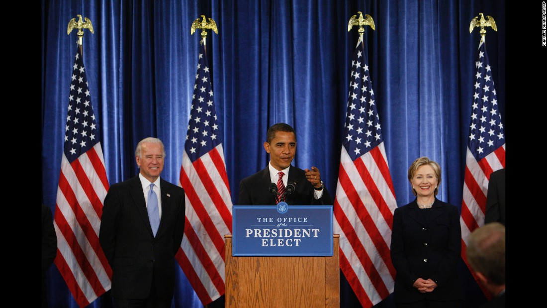 Obama is flanked by Clinton and Vice President-elect Joe Biden at a news conference in Chicago in December 2008. He had designated Clinton to be his secretary of state.