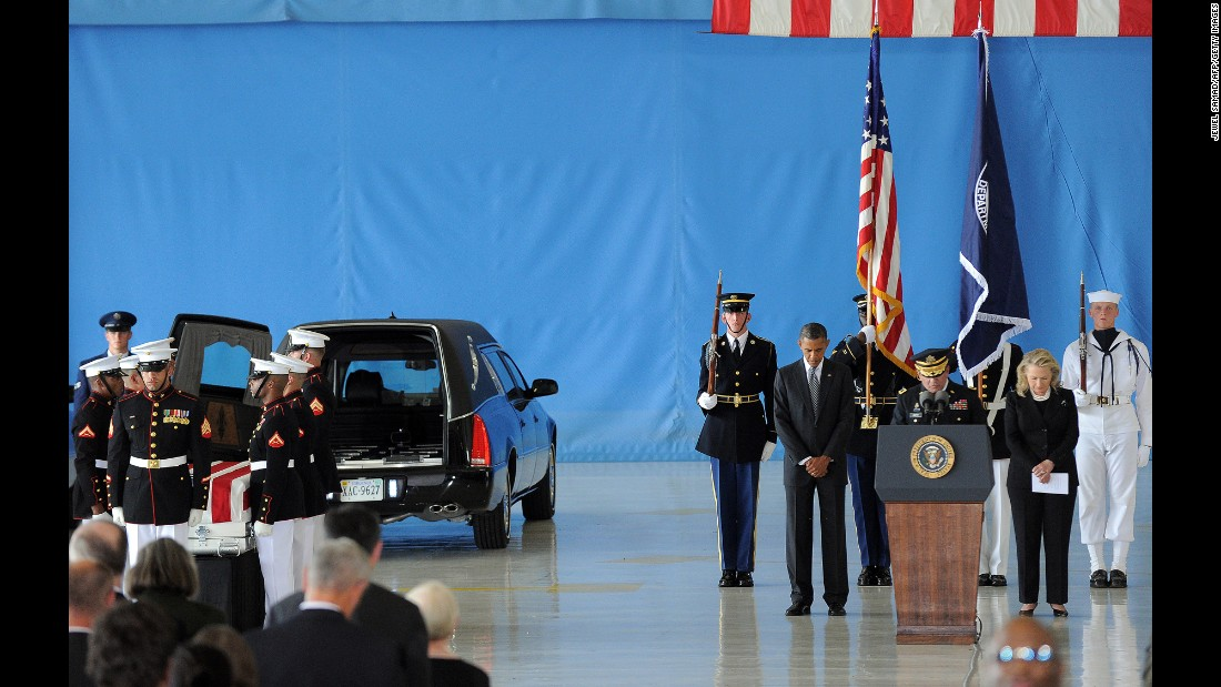 Obama and Clinton bow during the transfer-of-remains ceremony marking the return of four Americans, including U.S. Ambassador Christopher Stevens, who were killed in Benghazi, Libya, in September 2012.