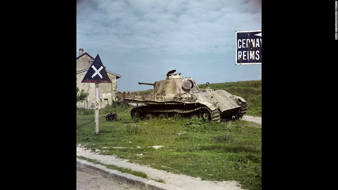 "A destroyed German ""Panther"" tank is seen in Belgium in 1947."