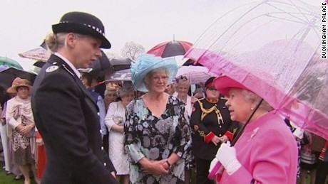 The Queen speaks to Metropolitan Police Commander Lucy D'Orsi.