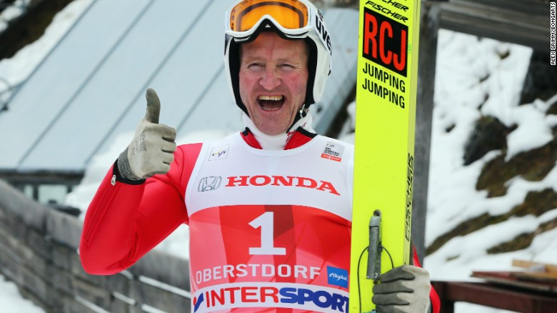 "OBERSTDORF, GERMANY - DECEMBER 29:  Former Olympian Eddie ""The Eagle"" Edwards attends a show jumping event on day 2 of the Four Hills Tournament Ski Jumping event at Schattenberg-Schanze on December 29, 2013 in Oberstdorf, Germany.  (Photo by Alex Grimm/Bongarts/Getty Images)  (Photo by Alex Grimm/Bongarts/Getty Images,)"