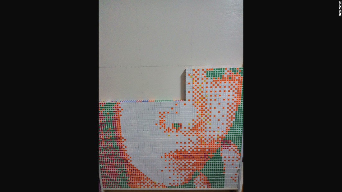 He solved each Rubik's cube according to his design and built the portrait using a specially made frame.