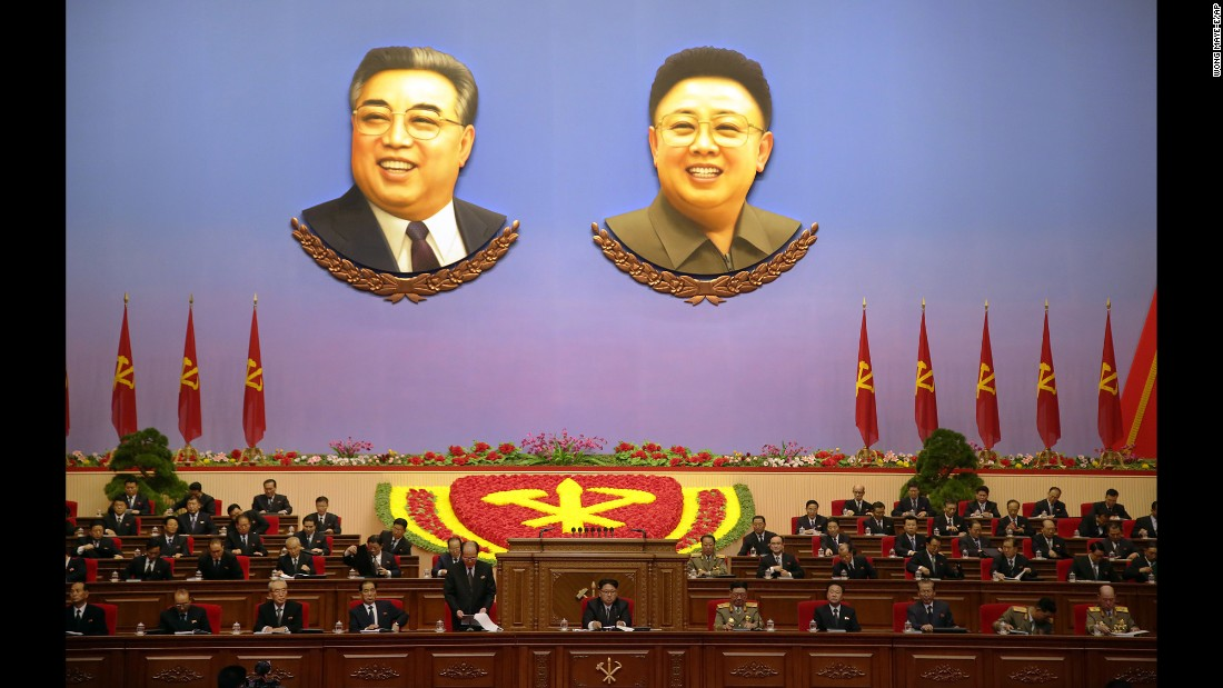 The portraits of late North Korean leaders Kim Il Sung and Kim Jong Il hang inside a convention hall where the Workers' Party Congress was being held in Pyongyang, North Korea, on Monday, May 9.