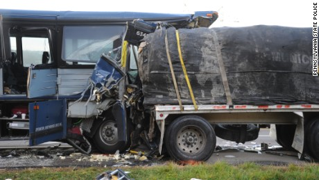 The Greyhound bus slammed into the back of a tractor-trailer.