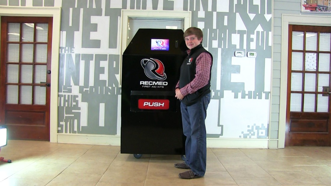 Still in development, RecMed vending machines offer first-aid supplies. Taylor Rosenthal came up with the idea for a middle school project and is now working with Six Flags theme parks.