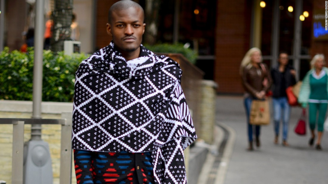Laduma Ngxokolo, founder of knitwear label MaXhosa by Laduma. The brand is 'a celebration of dark skin tones contrasted with bright hues to elevate the appreciation of color diversity' says its creator.
