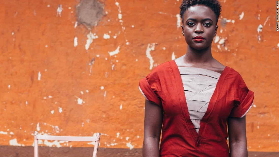 Lyra Aoko, photographer and blogger, wearing  Kenyan designer Kepha Maina.  Traditional fabrics such as Kanga are often used to produce bespoke pieces in Nairobi.