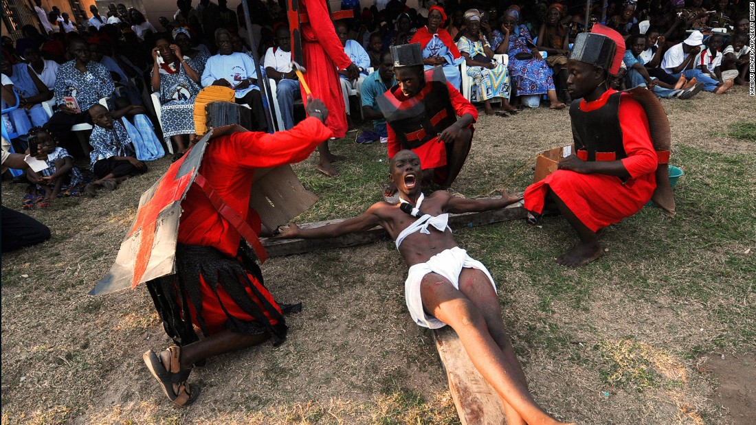 Catholics re-enact nailing Jesus to the cross and the stations of the cross on Easter Friday in Abidjan, The Ivory Coast, in 2009. There are about 171 million Catholics in sub-Saharan Africa.