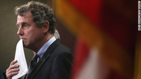 Sen. Sherrod Brown (D-OH) pauses during a news conference on currency and trade February 10, 2015 on Capitol Hill in Washington, DC.