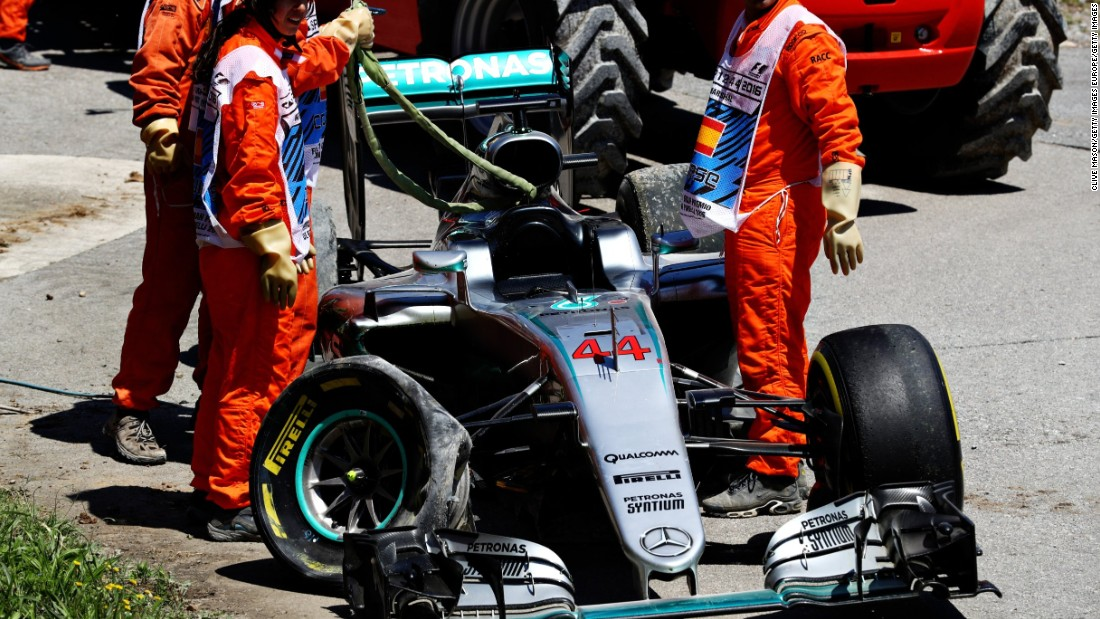 The mangled remains of Lewis Hamilton's car following his first-lap crash with Mercedes teammate Nico Rosberg.