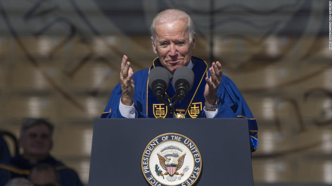 "Vice President Joe Biden spoke to<a href=""http://www.cnn.com/2016/05/15/politics/joe-biden-john-boehner-notre-dame/index.html""> University of Notre Dame</a> graduates at their commencement ceremony on Sunday, May 15, 2016 in South Bend, Indiana. He shared the stage with former House Speaker John Boehner. They both spoke on the current negative state of politics and were each awarded the 2016 Laetare Medal, the oldest and most prestigious honor at the catholic university."