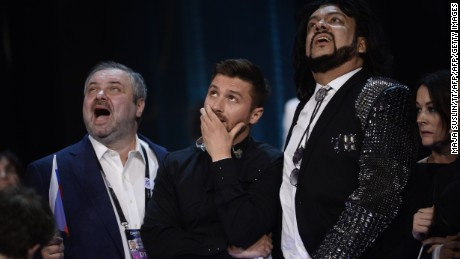 Russia's Sergey Lazarev (C) reacts during the final vote counting during the Eurovision Song Contest final at the Ericsson Globe Arena in Stockholm, on May 14, 2016.