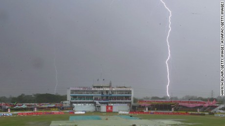 Lightning strikes behind a cricket stadium in Chittagong, Bangladesh, in this file image.