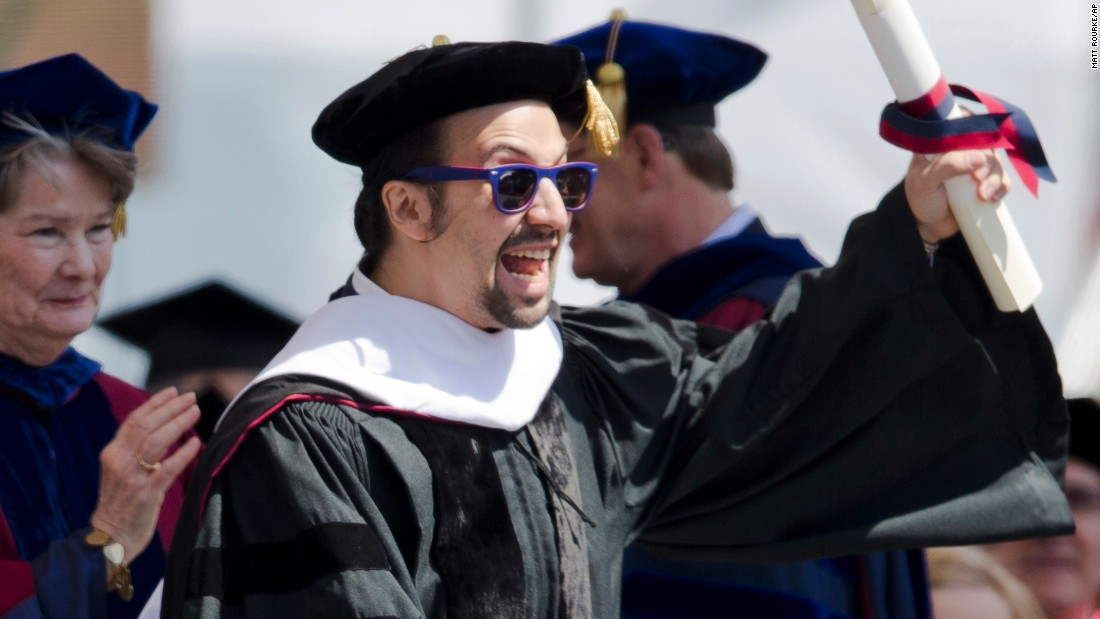 """Hamilton"" creator and star Lin-Manuel Miranda <a href=""https://www.youtube.com/watch?v=Xo7rJ5JRn7E"" target=""_blank"">apologized</a> to University of Pennsylvania graduates on May 16 for not including Philadelphia in his award-winning Broadway musical. ""The simple truth is this: Every story you choose to tell by necessity omits others from the larger narrative,"" he said. ""This act of choosing the stories we tell versus the stories we leave out will reverberate across the rest of your life."" He related this lesson to an unhappy long-distance college relationship -- ""I was trying to fit my life into a romantic narrative that was increasingly at odds with how I really felt"" -- and to bringing his shows to stage. He brought his speech back to the ""broke orphan"" who stars in ""Hamilton"" as a reminder that ""Time and time again immigrants get the job done."" He urged graduates to stick through the hard times, reminding them they are all a ""part of your story.""<br /><br />See who else is dropping knowledge on the class of 2016 in American schools nationwide."