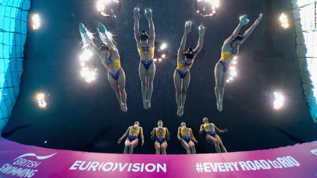 Synchronized divers from France compete at the European Championships in London on Friday, May 13.