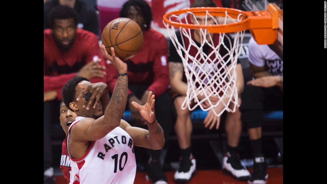 Toronto's DeMar DeRozan is fouled by Miami's Josh Richardson during an NBA playoff game on Sunday, May 15. DeRozen scored 28 points as the Raptors won Game 7 and advanced to the Eastern Conference Finals.