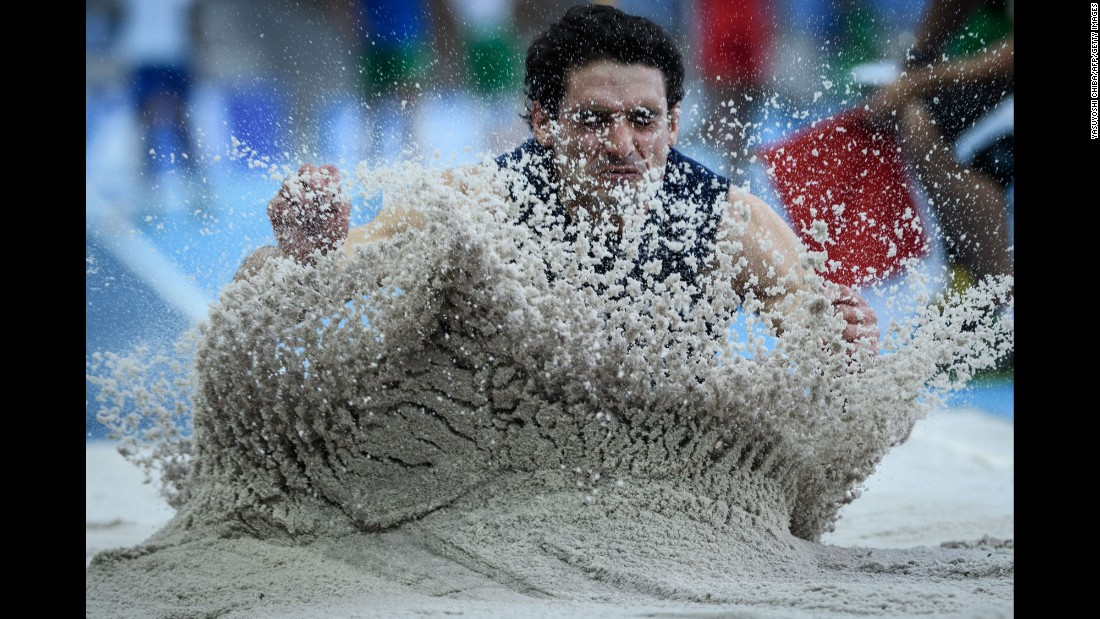Argentine long jumper Julian Cherit lands in the pit during an event in Rio de Janeiro on Sunday, May 15.